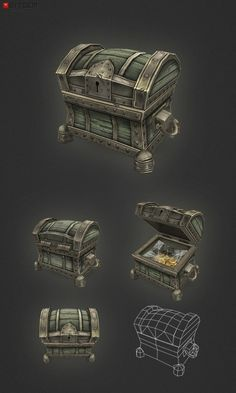 Low Poly Treasure Chest Small_by Bitgem_from ? Game Design, Prop Design, Zbrush, 3d Cinema, Low Poly Games, Hand Painted Textures, Game Props, Low Poly 3d Models, Modelos 3d