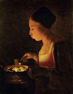 Девушка, раздувающая в жаровне огонь. Жорж де Латур
