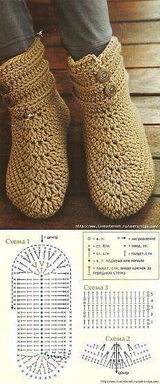 Crochet slippers diagram patterns 15 ideas for 2019 Crochet Slipper Boots, Crochet Sandals, Crochet Slippers, Gilet Crochet, Crochet Gloves, Crochet Yarn, Crochet Slipper Pattern, Crochet Patterns, Crochet Diagram