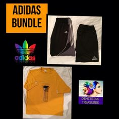 Adidas Bundle Of Fun Limited addition yellow T-shirt Sz. XL & Sz. XL shorts colors are & grey white Clima Cool Draw string with back zip pocket And another pair of shorts XL Black white & grey stretch waist basketball shorts Sz. XL Free 24oz. H2O bottle.  Sorry no PayPal holds or trades Save up to 50o/o off on bundles in both of my Poshmark closets Shop @demitria Thank you for shopping Demitria's Adidas Shorts