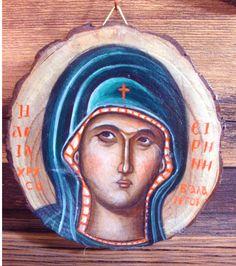 Saint Irene Chrysovalantou Icon on wood slice handpainted in 2019 13 x 10 cm Byzantine Icons, Wood Slices, Irene, Hand Painted, Canvas, Art, Tela, Art Background, Wood Rounds