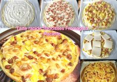 Pie with sausages Cheese with raclette Raclette Cheese, Hawaiian Pizza, Entrees, Macaroni And Cheese, Ethnic Recipes, Quiches, Food, Sausages, Buffets
