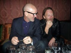 Michael Stipe & Thom Yorke at Radiohead afterparty at Jane Hotel, NYC.