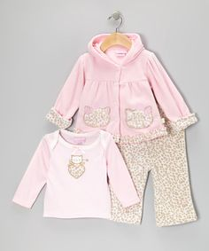 Take a look at this Pink Leopard Micro Polar Kitten Jacket Set by Duck Duck Goose on #zulily today!