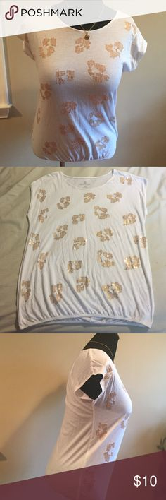 "Cute Top Cute little Top-Gold Embellishments-Elastic Waste-measures 20"" pit 2 put-Length is 24""-Price Firm unless bundled for the discount‼️‼️‼️ New York & Company Tops Tees - Short Sleeve"