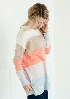 Peach, Light Blue, and Tan Color Block Sweater #bellaellaboutique