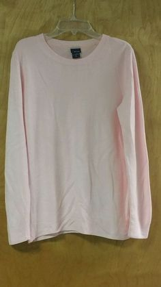 Basic Editions Women's Soft Pink Sweater Long Sleeves Crew Neck Size S #BasicEditions #Crewneck