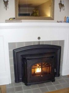 Empress Pellet Stove Insert In Old Fashioned Fireplace