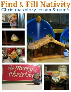 Nativity scavenger hunt for kids. Great active Christmas activity that teaches them who all the people in a nativity scene is.