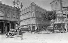 Havana-Cuba-Plaza-Hotel-Trolleys-Old-Car-Busy-Street-1912 Scene-Print