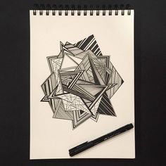 Geometric shapes and various patterns come together to create more than meets the eye. Doodle Art Drawing, Zentangle Drawings, Cool Art Drawings, Pencil Art Drawings, Art Drawings Sketches, Beautiful Drawings, Geometric Drawing, Geometric Art, Triangles