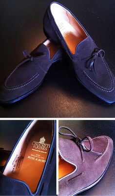 Loafers in some crazy colours, by Crockett & Jones...