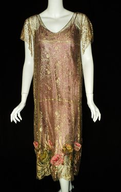 Amazing Art Deco Metallic Lace Dress Chenille Embroidered Flowers Ribbonwork French 1920s