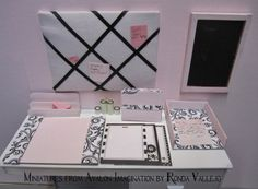 Miniature Dollhouse 1:6th Scale Play Scale Barbie Blythe Desk Accessories Stationery Set in Pastel Pink, Black and White from MiniaturesfromAvalon on Etsy