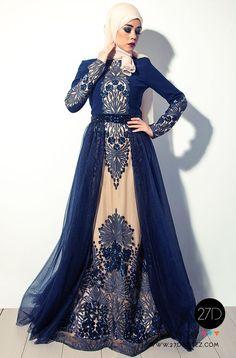 Long Sleeved hijab evening dress - Hijab Fashion -27dressez