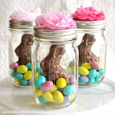 Learn how to make adorable Mason Jar Easter Baskets! These unique DIY Easter Baskets make a fun gift (great for older kids) + look so cute on a holiday table!