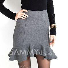 $12.67 Ladylike Irregular Over Hip Ruffles Gray Skirt For Women