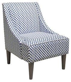 Quinn Swoop-Arm Cotton Chair, Blue/White   Stylish Upgrades   One Kings Lane