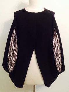 Cape. Black cashmere with black and white scales insert. Campisi couture. $180
