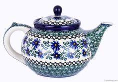 polish pottery teapot (blue green pattern)