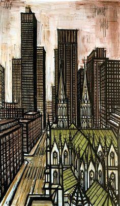Bernard BUFFET ( 1928 - 1999 ) - Peintre Francais - French Painter New-York le Rockefeller center Illustrator, Mid Century Art, French Artists, Magazine Art, Paris, Oeuvre D'art, Urban Art, Traditional Art, Cool Art