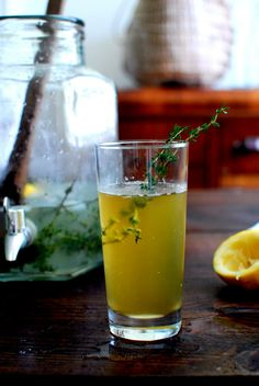 Clara Con Limon with Thyme. Beer with a hint of lemon-herb simple syrup. Sounds nice. Source: Recipe and image by Sarah of the Yellow House