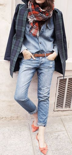 Denim + plaid
