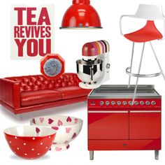 Team bright lamps, cookware and gadgets with statement appliances for a bright, colour-drenched kitchen