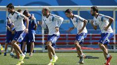 Argentina practicando antes de un partido
