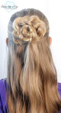 Pretty Hair is Fun: Half Up Hair Flower Down Hairstyles, Pretty Hairstyles, Zipper Braid, Five Strand Braids, Infinity Braid, Braid Tutorials, Pretty Braids, Flower Braids
