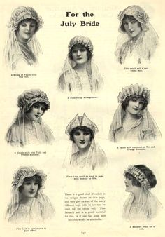 ๑ Nineteen Fourteen ๑ historical happenings, fashion, art & style from a century ago - Bridal headdresses from the Girl's Own Annual, 1914