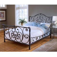 Hillsdale Mandalay King Sleigh Bed Set Old Rustic Brown - - Hillsdale Furniture King Metal Bed, Metal Beds, Iron Furniture, Bedroom Furniture, Gold Furniture, Furniture Online, Furniture Decor, Iron Headboard, King Headboard