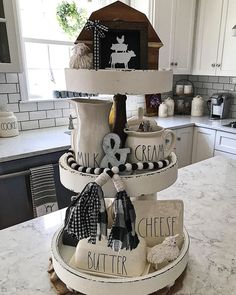 It's Wednesday and time to share our feature for . It was another great week of seeing all the… Country Living Decor, Country Farmhouse Decor, Farmhouse Kitchen Decor, Farmhouse Style, Home Design Decor, Fall Home Decor, Galvanized Tiered Tray, Gingerbread Christmas Decor, Tray Styling