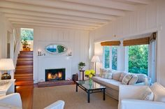 Lovely Living Room With Fireplace Santa Barbara Beach Cottage