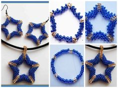 Beads star earrings and pendant,Then repeat all the series as the first side. Sew. And the result is such a star.