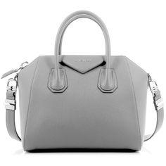 Givenchy Antigona Small Pearl Gray Bag ($1,425) ❤ liked on Polyvore featuring bags, handbags, givenchy purse, pearl handbag, zipper bag, grey bag and zip bags