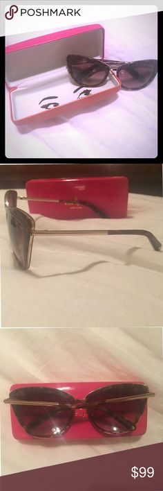 """KATE SPADE HELLO BEAUTIFUL TORTOISE SHELL SUNNIES Kate Spade sunnies with a tortoise shell frame and gold accents. I have too many pairs to love them all equally. Glasses only. Smoke free home. Measurements: 5.5""""L x 5.5""""H x 2""""W kate spade Accessories Sunglasses"""