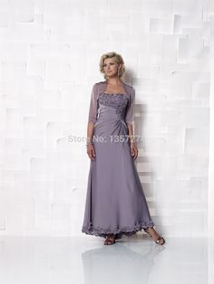 Free Shipping 2014 Lavender Mother Of The Bride Dresses With Jacket Scoop Appliques A Line New Fashion Vestidos De Madrinha MA8