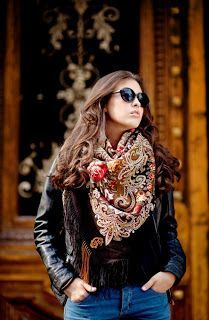 Russian scarf outfit