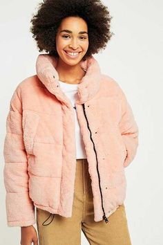 Light Before Dark Pink Teddy Puffer Jacket