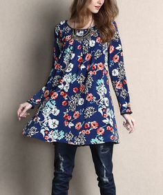 Look what I found on #zulily! Blue Floral Scoop Neck Pin Tuck Tunic #zulilyfinds