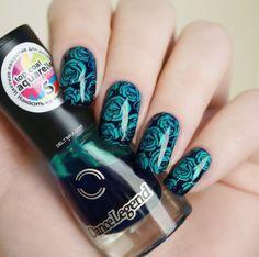 nail stamping - roses