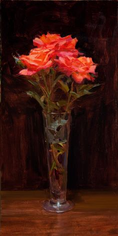 """""""Roses with pilsner""""  24x12 Oil painting on board  Tony Pro"""