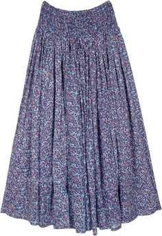 A full length bohemian dense floral print long maxi skirt made from soft and comfortable cotton voile fabric with a wide smocked waist and 3/4th lining. This gathered cotton summer skirt keeps you cool and covered and would make a nice outfit for summer. #tlb #MaxiSkirt #Floral #bohemianfashion #summercottonskirt #cottonvoileskirt #printedcottonlongskirt
