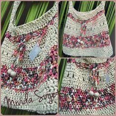crocheted bag made of t-shirt yarn