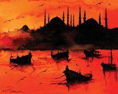 Fantasy Paintings, Landscape Paintings, Istanbul, Turkish Art, Turkish Tiles, Boat Painting, Classic Paintings, Leaf Art, Urban Sketching