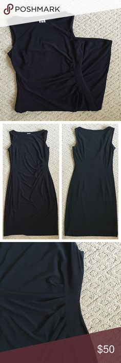 "Anne Klein Sheath Dress Anne Klein sheath dress in Size 4. Excellent condition - only worn a couple times. Fully lined, has stretch, nicely weighted, cool side detail (see photo). Measures approx: 36"" long, 16"" armpit to armpit. Anne Klein Dresses Midi"