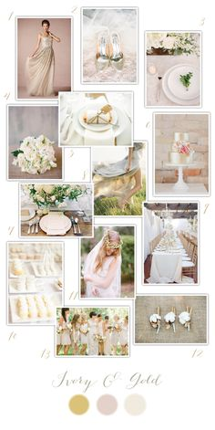 Ivory and Gold Wedding Inspiration via One Hitched Lane #wedding #goldshoes #cake #boutonniere #bridesmaid #white #dessert #bouquet #dress #tablescape #floralcrown