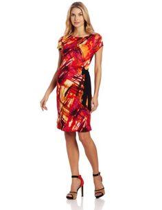 Three Seasons Maternity Womens Maternity Multi Print Side Tie Dress