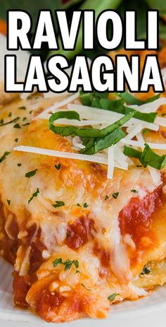 We love this short-cut Ravioli Lasagna recipe! All the great flavors of lasagna, it just comes together a little more quickly and easily! #lasagna #ravioli #dinner #recipes #meals #lftorecipes